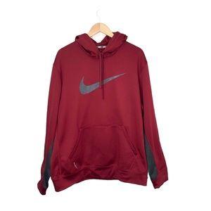 Nike Therma-Fit Mens Hoodie Deep Red & Grey